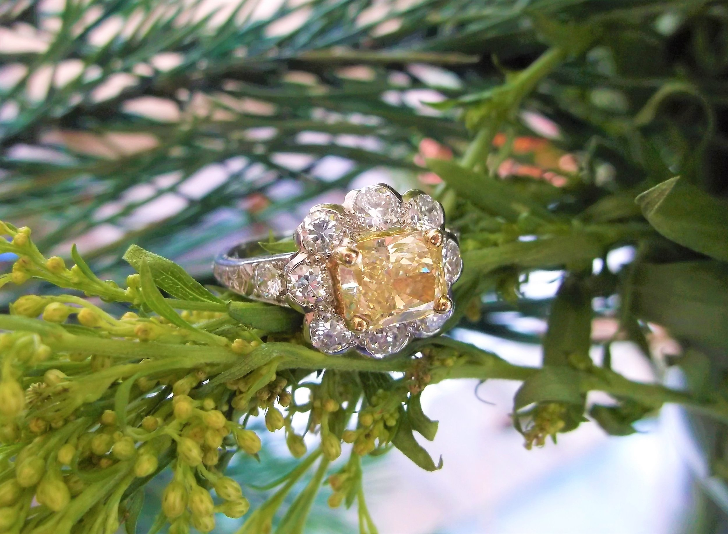 SOLD - Enchanting 1.61 carat yellow diamond set in a platinum mounting with 1.25 carats total weight in round brilliant cut diamonds.