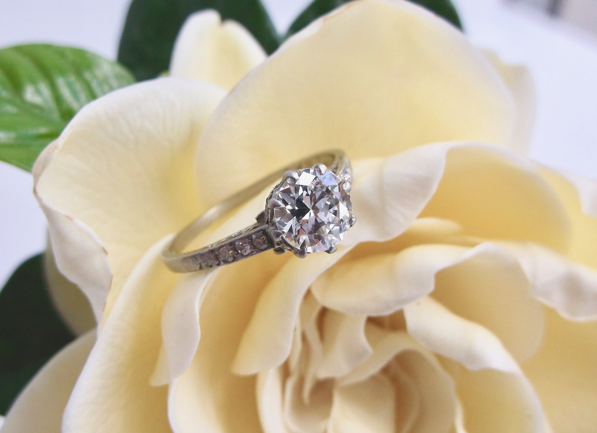 Simplicity from the top leaves space for lots of gorgeous details underneath! 1920's Art Deco diamond and platinum ring featuring a 0.97 carat Old European cut diamond. See the details in all their glory  HERE