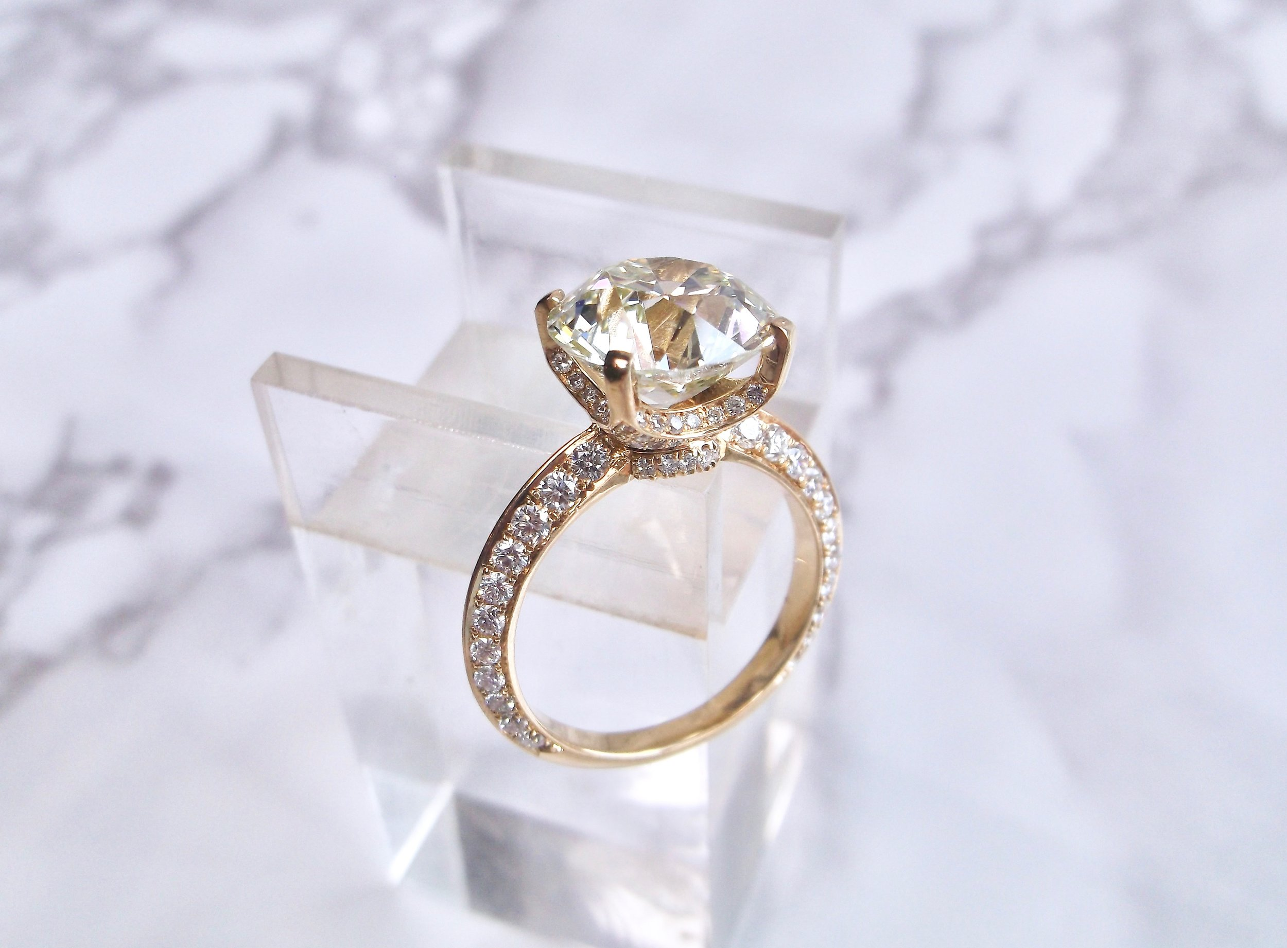 Diamonds on diamonds on diamonds! Every inch of this beauty is covered in diamonds! Featuring a 5.04 carat center Old European cut diamond, this ring has a definite WOW factor! Shop this stunner  HERE .