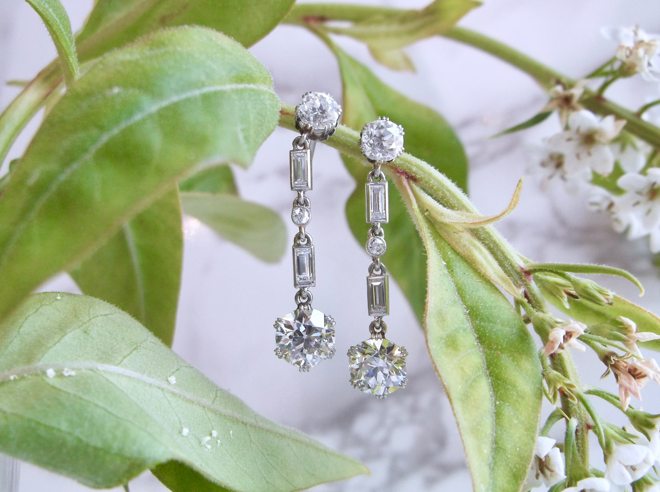When you need a bit more bling than a classic stud, these fabulous Art Deco diamond drops are sure to fit the bill! These beauties feature over 3 carats in diamonds set in platinum.  Shop them  HERE .
