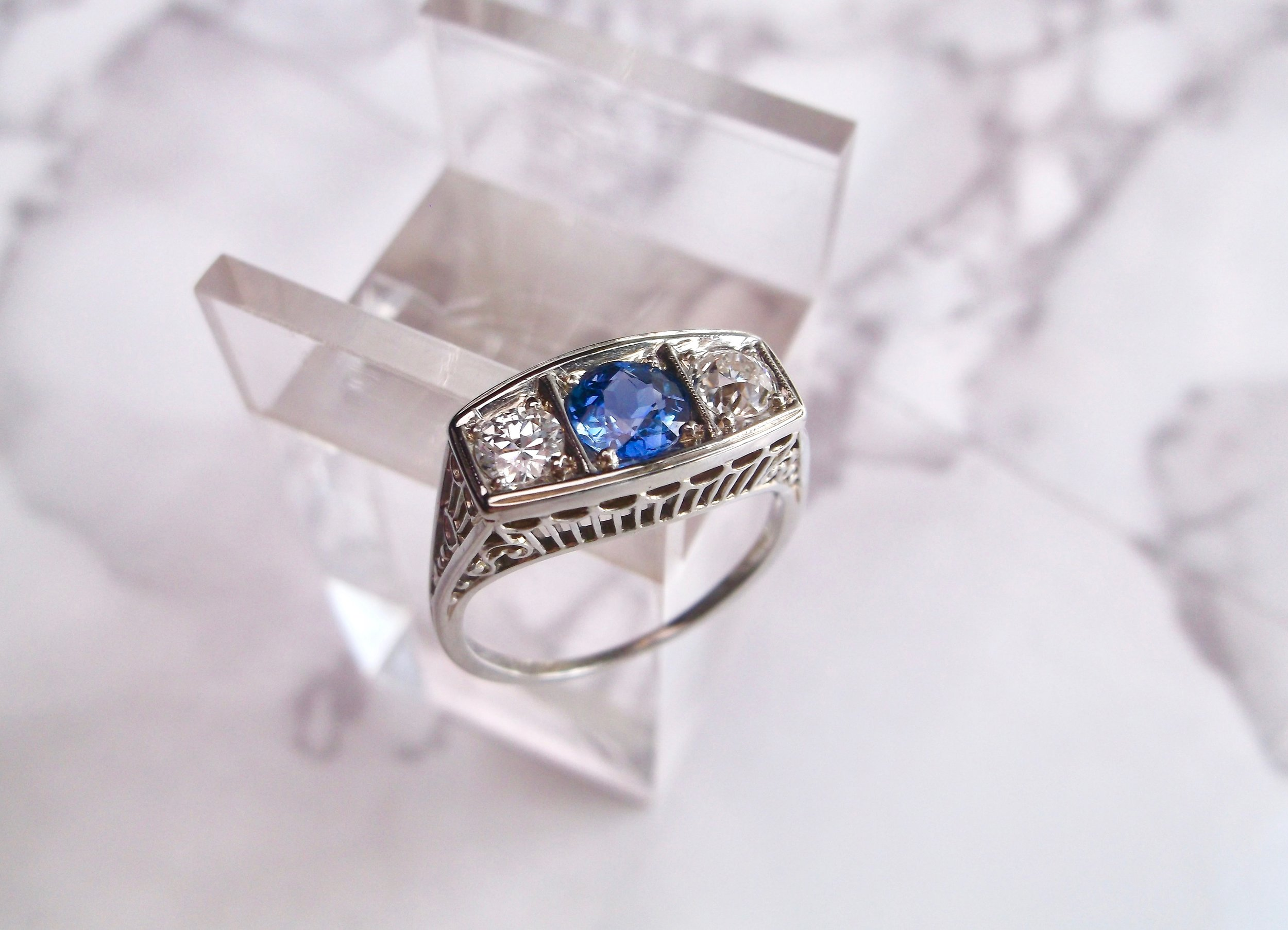Unique, antique  and nontraditional - our kind of engagement ring! We think this beautiful Art Deco diamond and sapphire ring would sure make someone happy! Could it be you?? Shop this lovely ring  HERE .