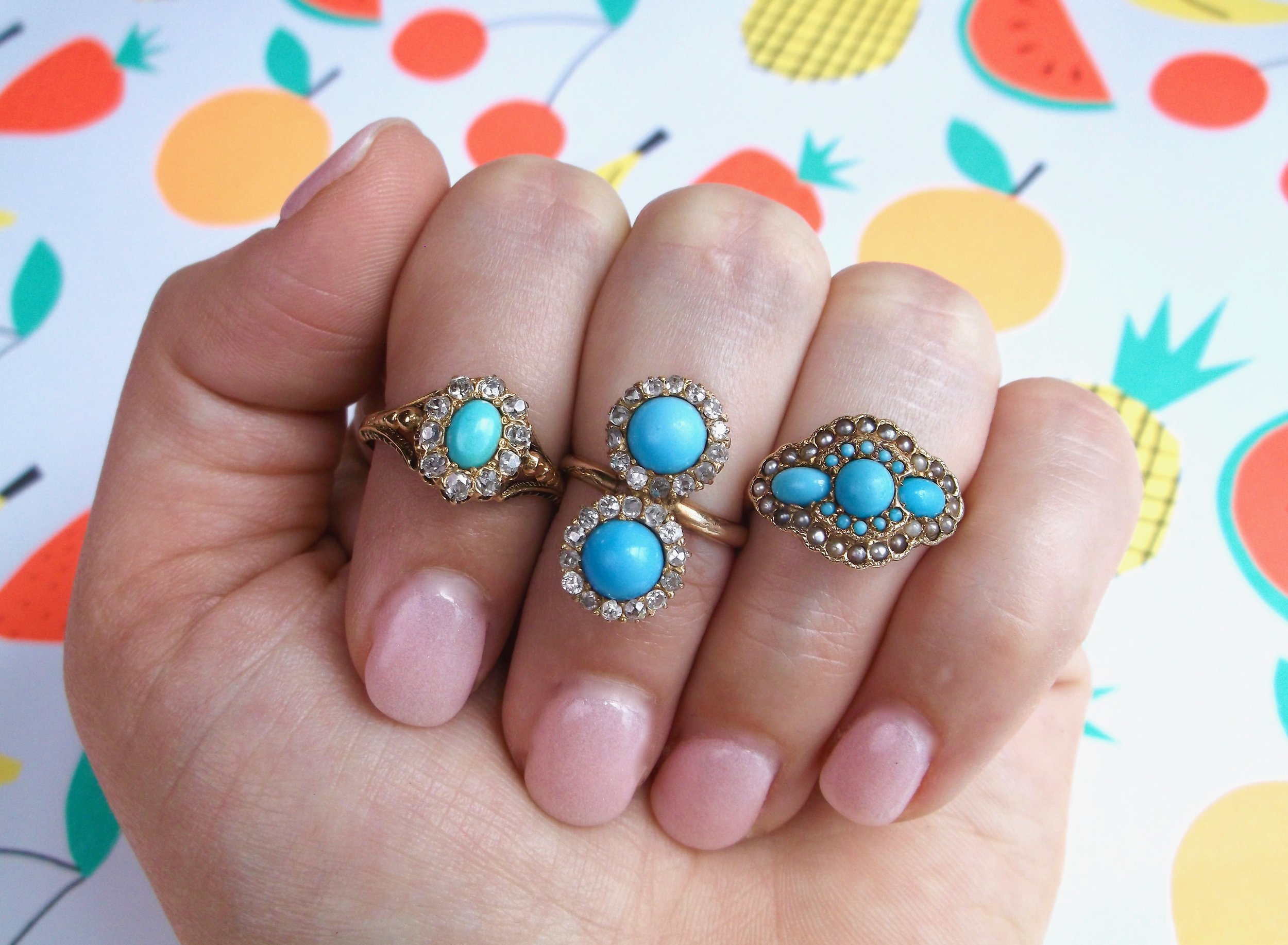 "Freshly picked Victorian turquoise rings! Shop these beauties by clicking the ""Gemstone Rings"" category in the menu!"