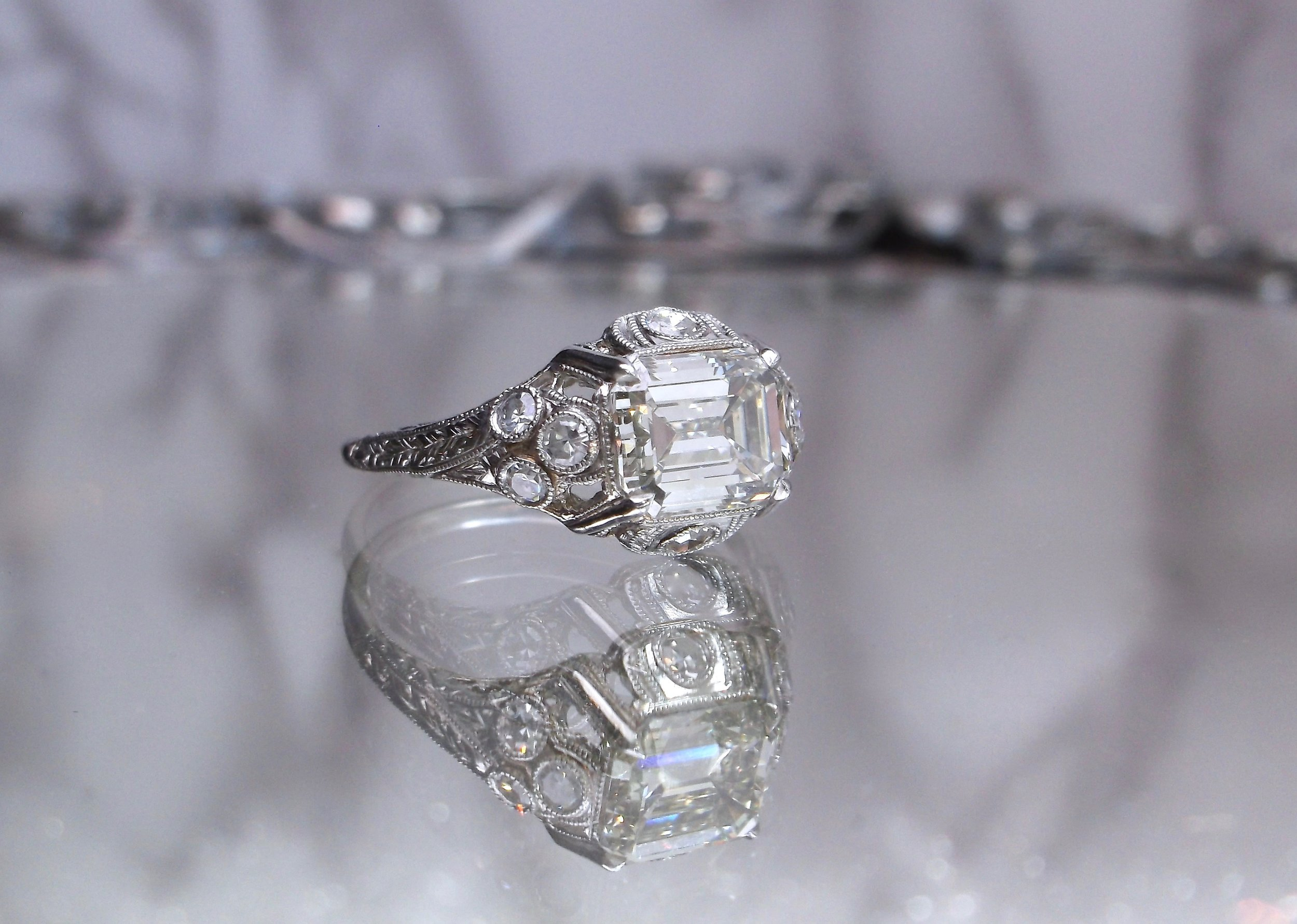 Double the Deco, double the fun! Shop this fabulous 1.56 carat emerald cut diamond ring  HERE.
