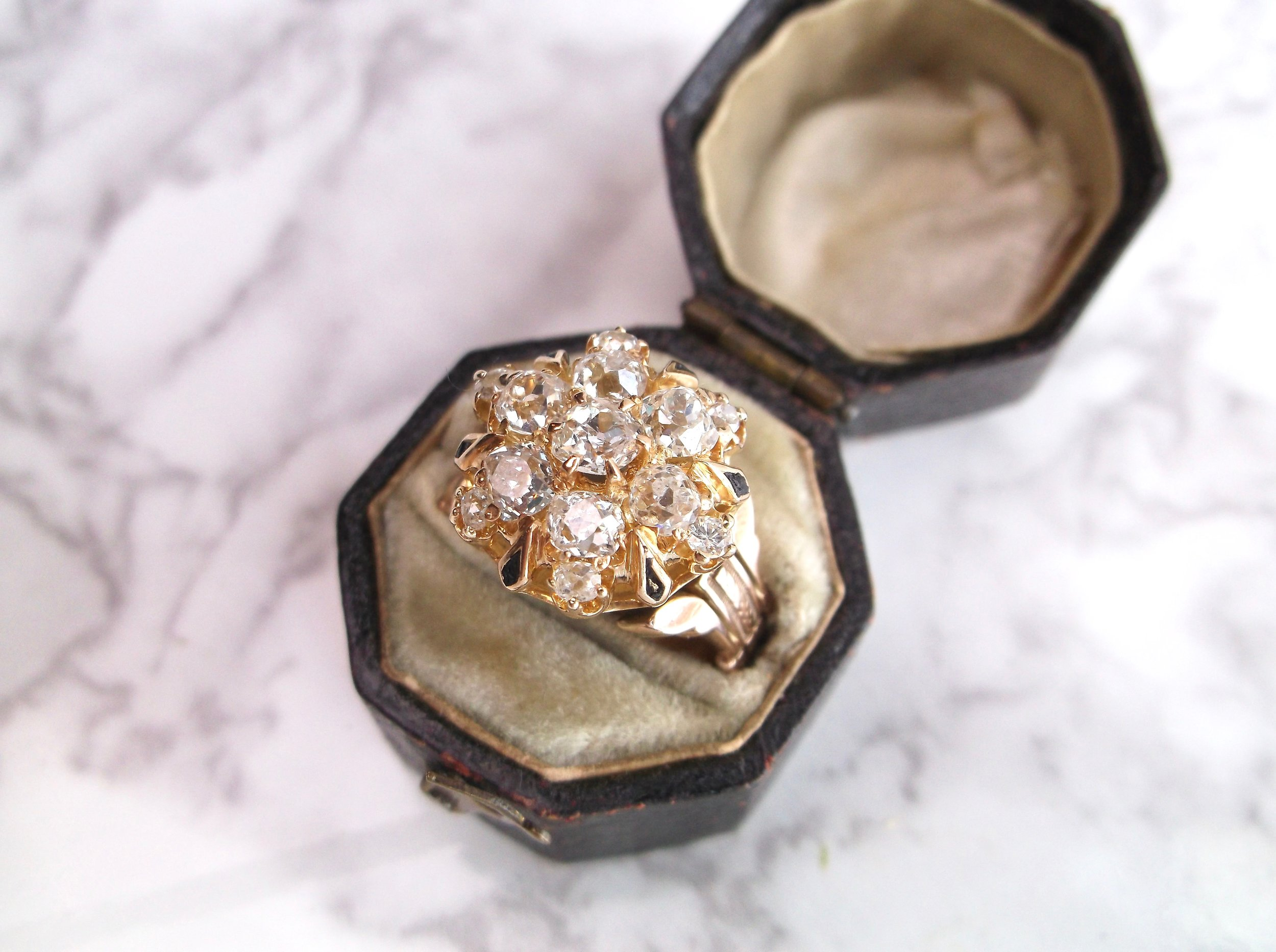 So many Old Mine cut diamonds, they almost didn't fit in the box! Shop this Victorian beauty  HERE .