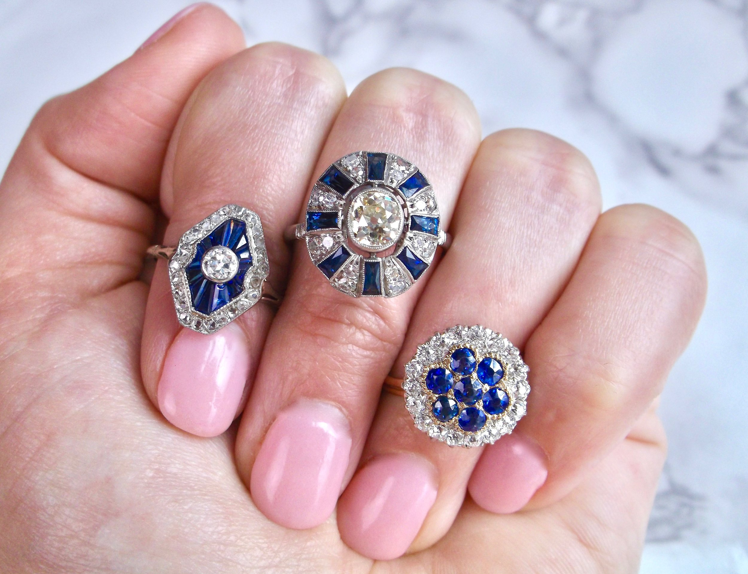 Happiness = antique sapphire accents! Shop these beauties  HERE ,  HERE , and  HERE .