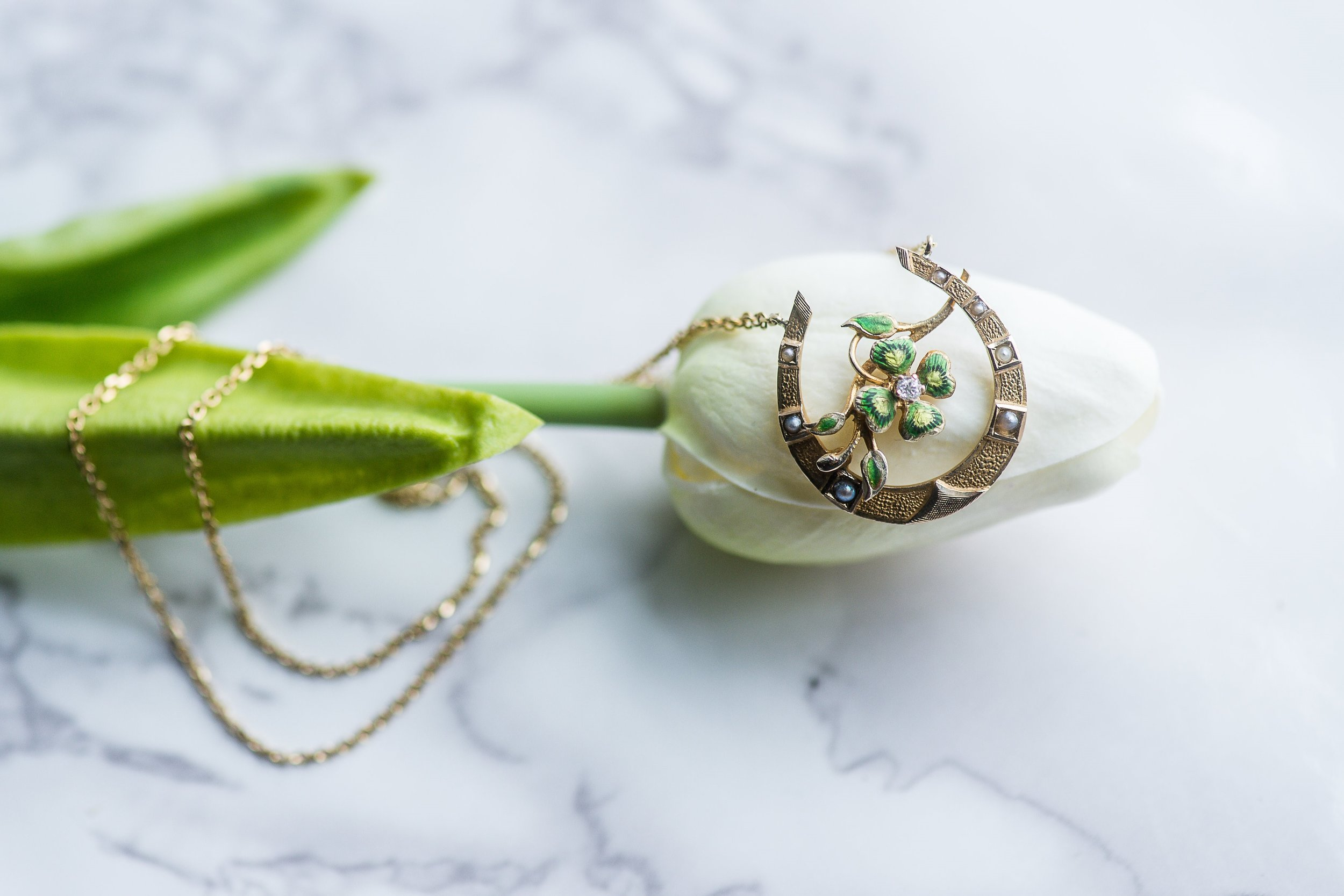 A Victorian era yellow gold horseshoe, diamond, pearl and green enamel necklace that is sure to be your good luck charm! Shop this fabulous piece  HERE .