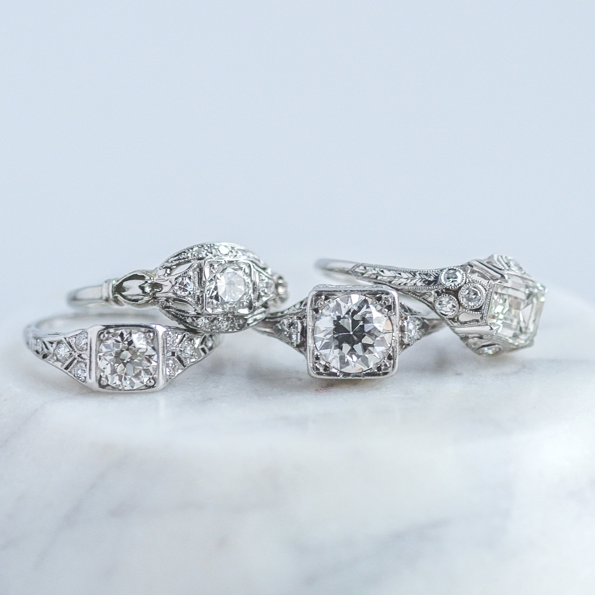 I mean, goodness gracious! How do you even choose?! 💍💍💍💍 Shop these stunning Art Deco beauties  HERE ,  HERE ,  HERE , and  HERE .