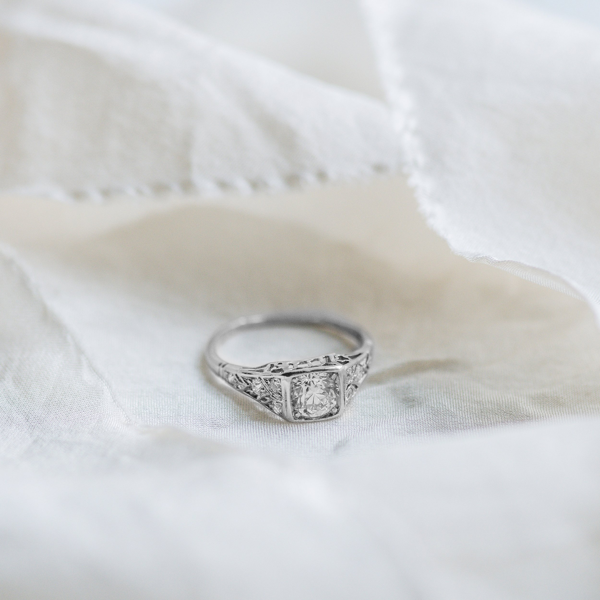 What bridal dreams are made of! Shop this stunning Art Deco 0.70 carat Old European cut diamond and platinum ring  HERE .