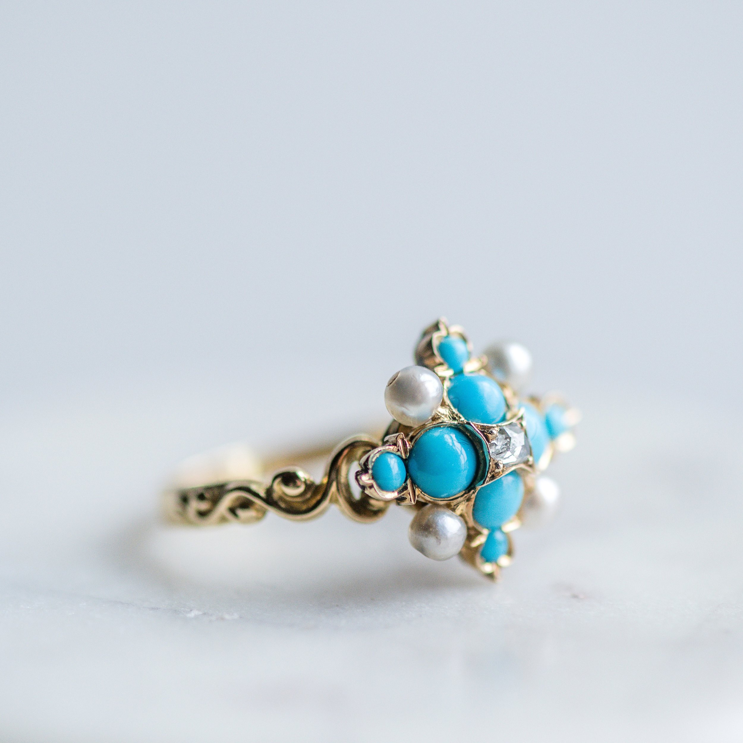 The bright turquoise in this Victorian beauty reminds us of Easter Eggs! Shop this lovely ring  HERE .