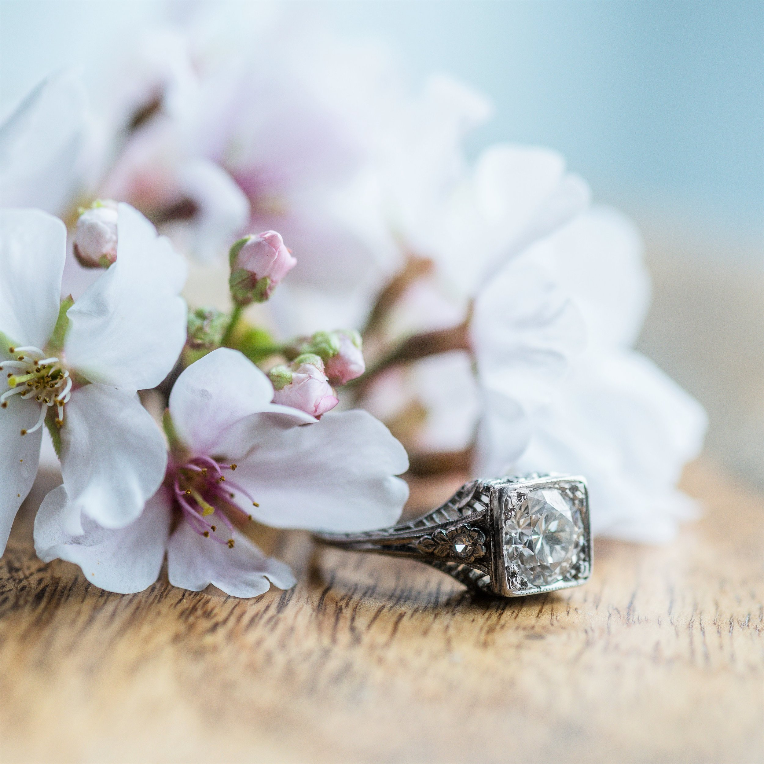 Sometimes you've got to stop and smell the flowers, or at least, admire the flower details on this fabulous Art Deco ring! Shop this 1.40 carat Old European cut diamond beauty  HERE .