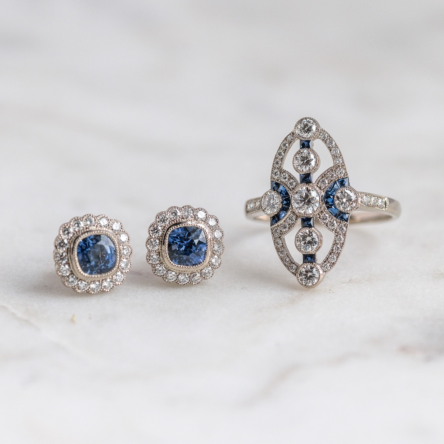 Something blue 💙 Shop these fabulous diamond and sapphire earrings  HERE , and this gorgeous diamond and sapphire ring  HERE .