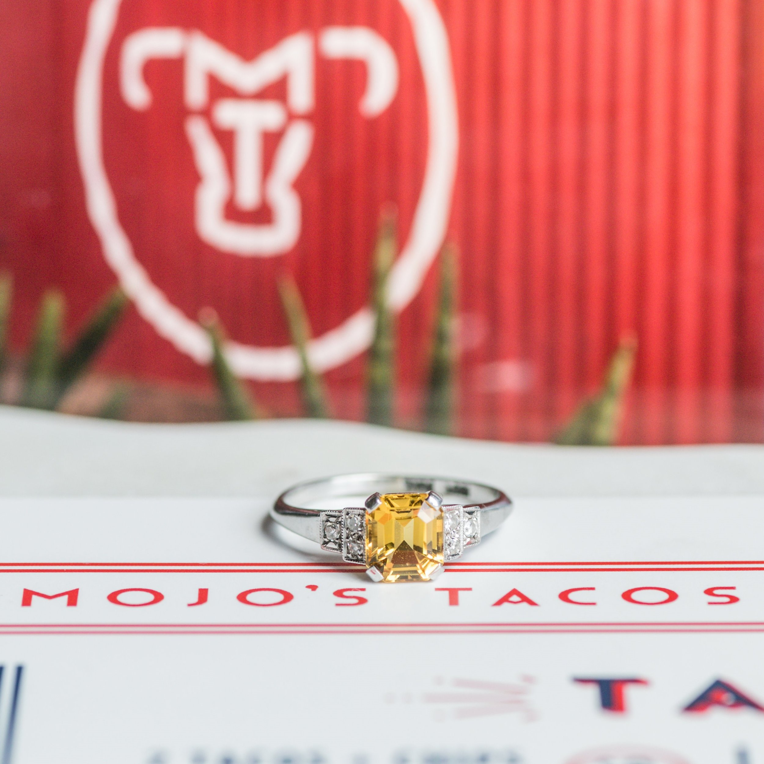 "Happy Cinco de Mayo! Something about this delicious citrine ring makes us crave a margarita and tacos... specifically the ""Old School Taco"" served up by our friends at Mojos Tacos! Shop this beauty  HERE ."