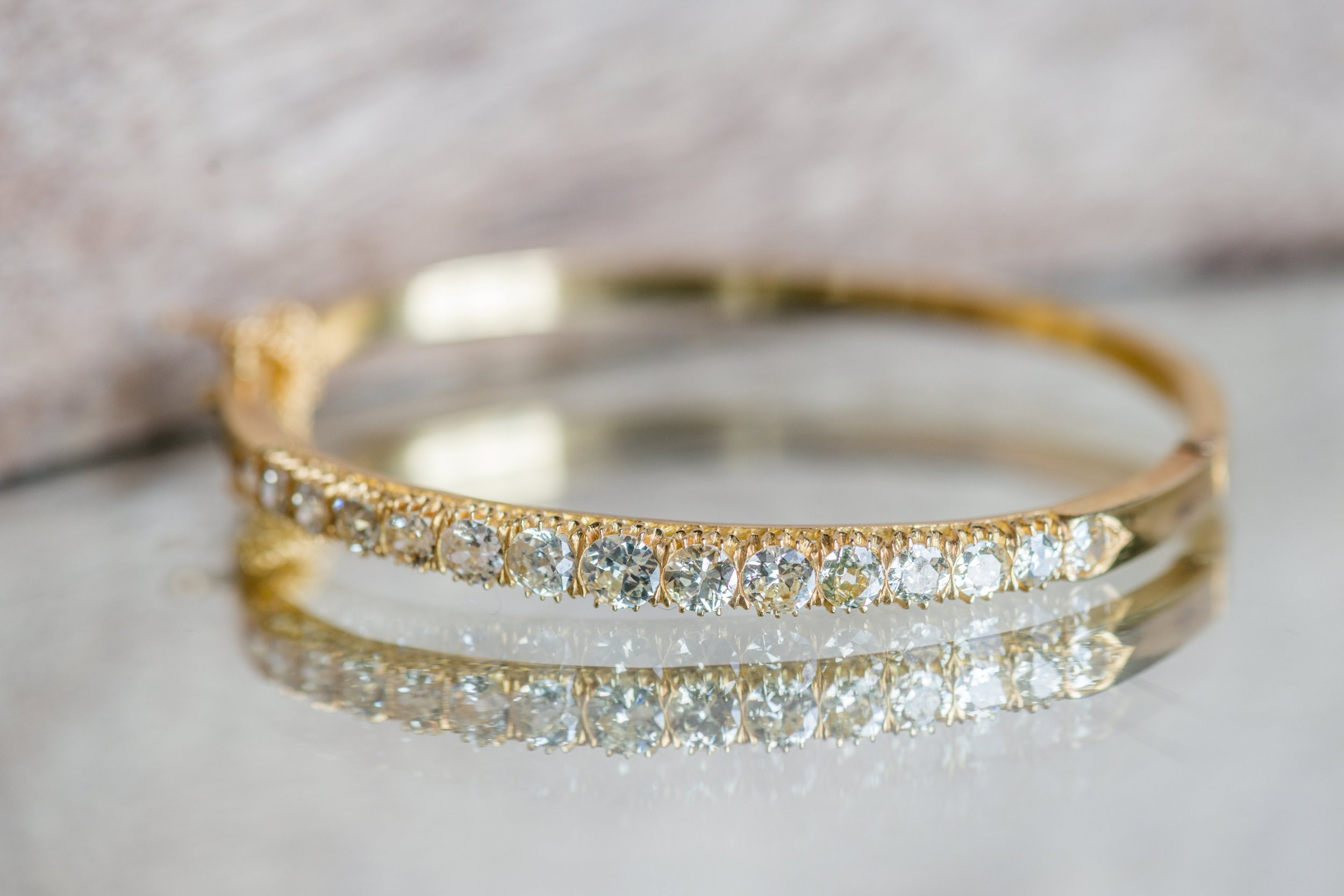A stunning Old Mine cut diamond bangle bracelet perfect for all wardrobes and all occasions! Shop  HERE .
