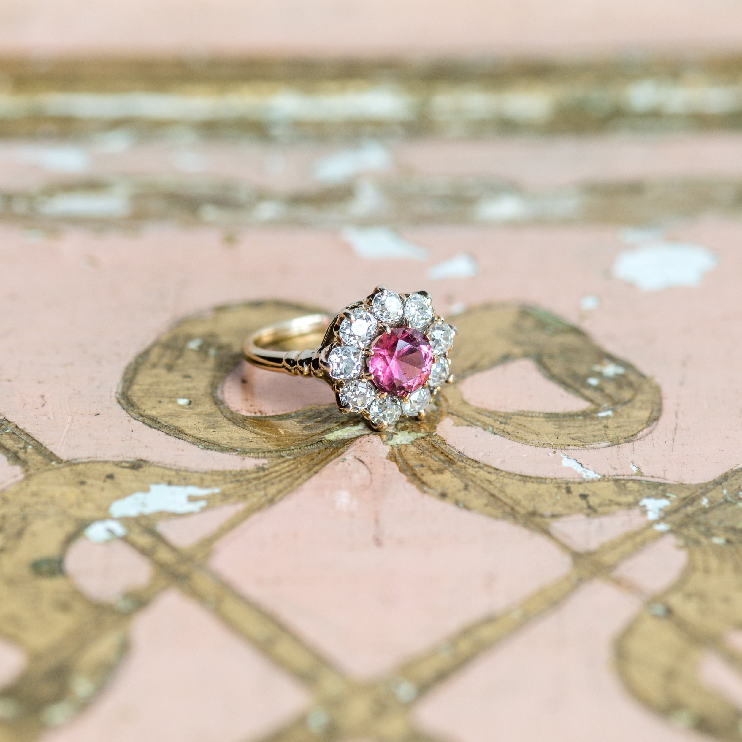 A pop of pink sets this lovely ring apart from the rest! Shop this beautiful pink tourmaline and Old Mine cut diamond ring  HERE .