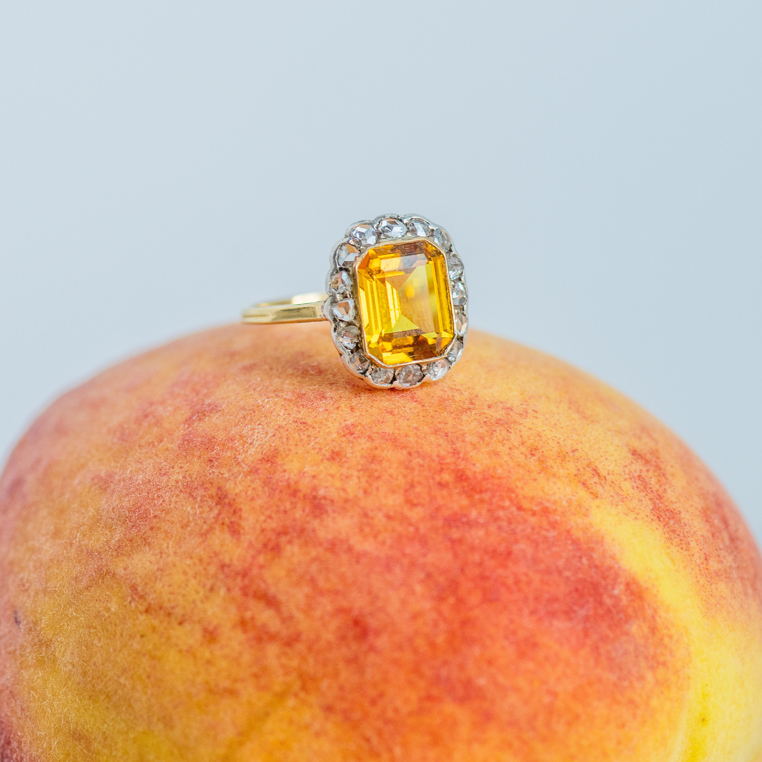 Pretty as a peach! Shop this stunning citrine and rose cut diamond ring  HERE .