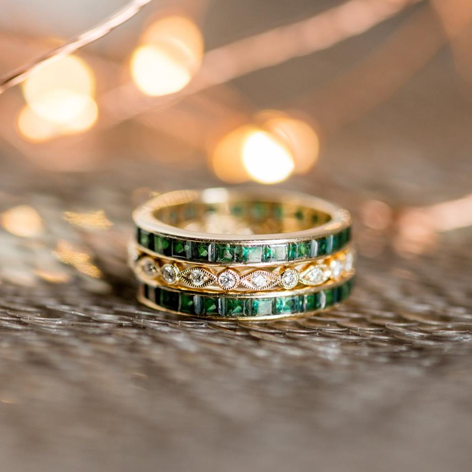 "Can you EVER have too many stackable bands? The answer to that is a resounding ""NO"", Ladies and Gentleman. You can NEVER have too many stackable bands 😉 Shop these emerald bands  HERE  and  HERE !"