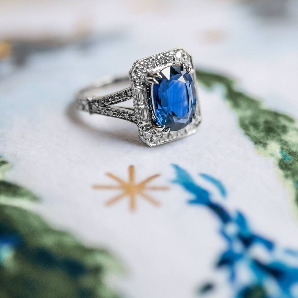 We just received this fabulous 4.96 carat sapphire and diamond ring and it has already found it's way wrapped under a lucky someone's tree! (But it was too gorgeous not to share - talk about an incredible thing to wake up to Christmas morning!)