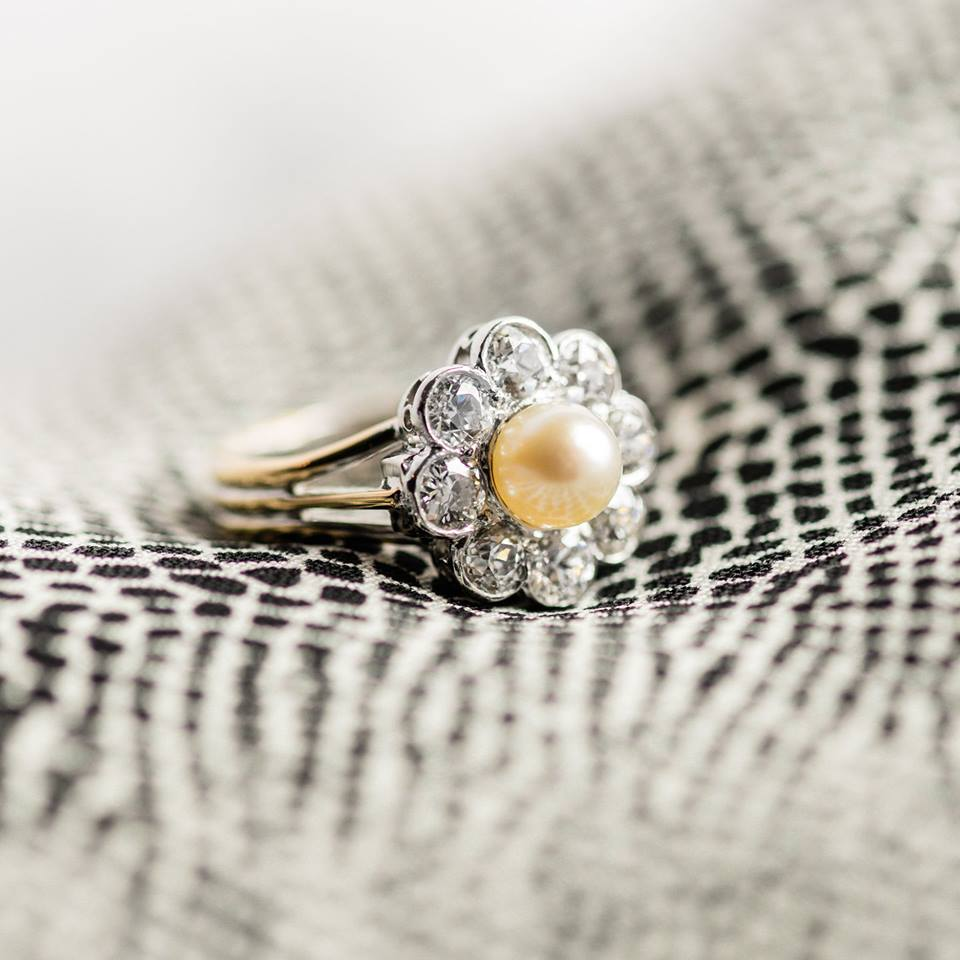 Platinum topped 14k yellow gold, Old European Cut Diamonds, with a Pearl on top! Click  HERE  to shop!