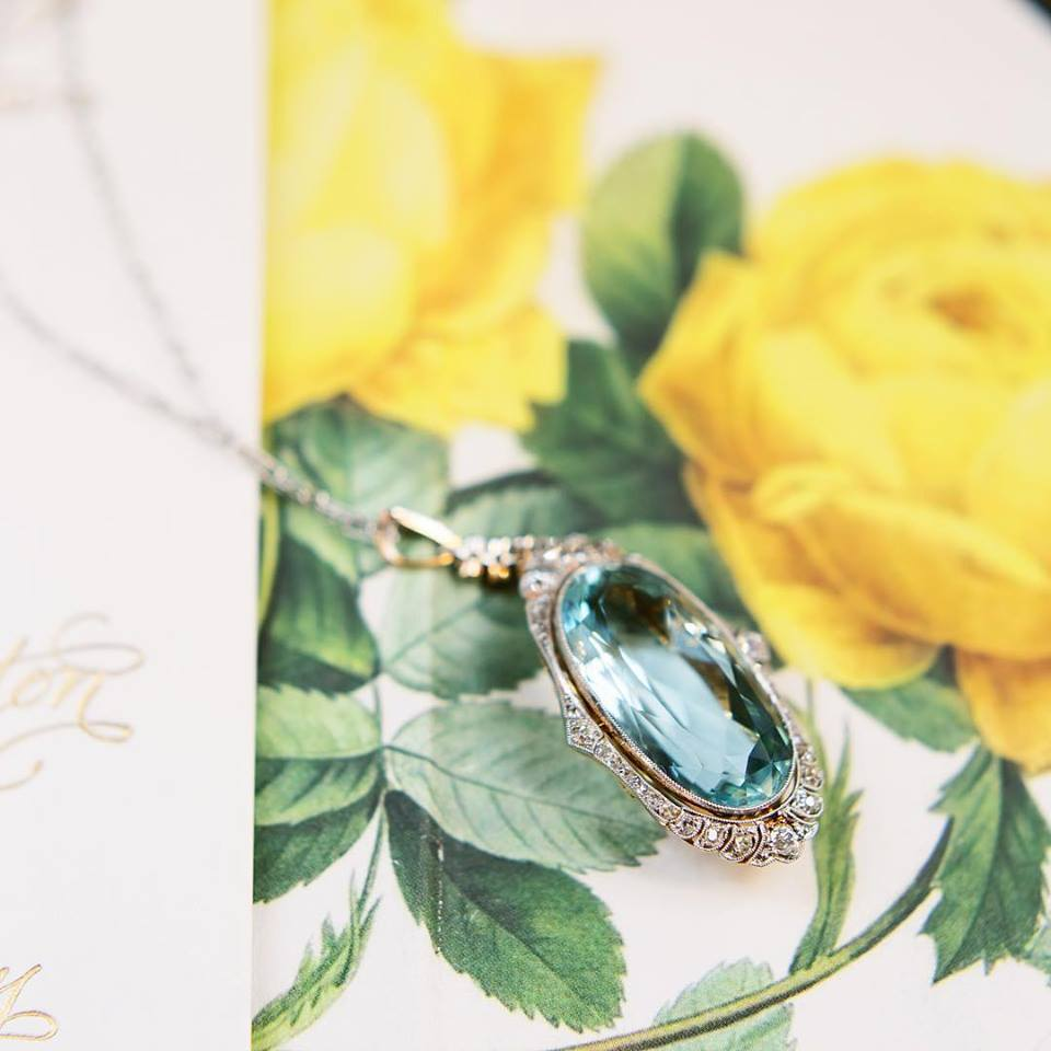 Nothing says first day of Spring quite like this gorgeous Aquamarine Pendant! Shop this Edwardian Era beauty  HERE !