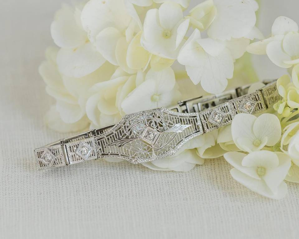Flowers and Jewelry... they go together like 🥛 + 🍪.🥓 + 🍳. 🍷+🧀. Shop this gorgeous Art Deco bracelet  HERE !