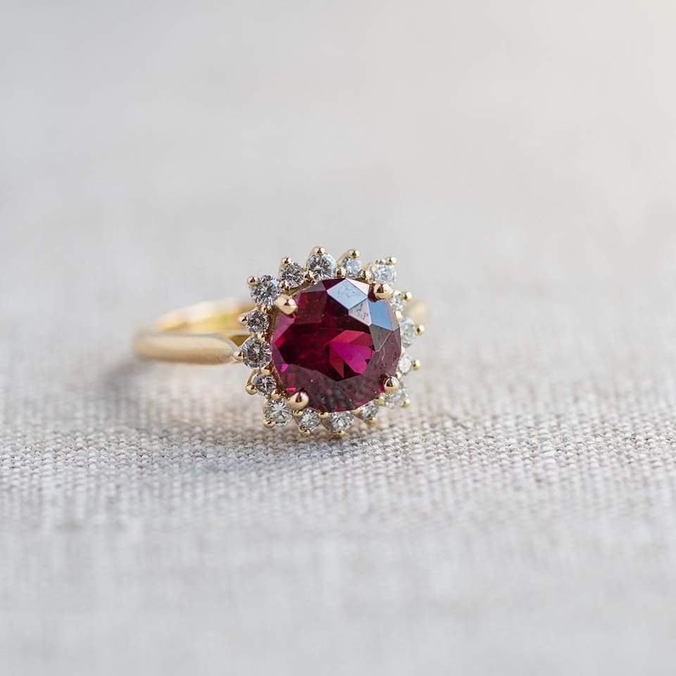All the way from the Umba River Valley region of Tanzania- we introduce you to this raspberry dream of a garnet! Click  HERE  to shop this luscious diamond and garnet ring!