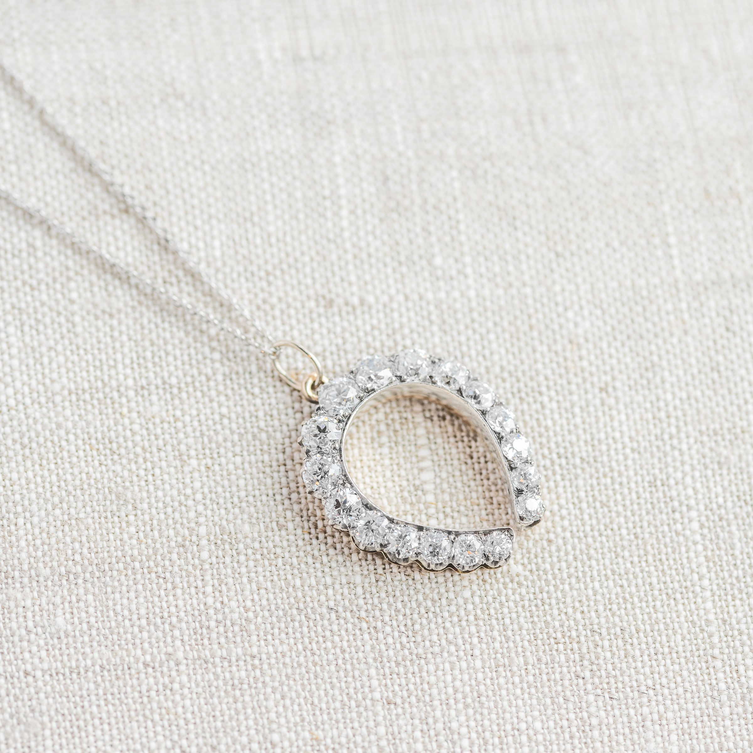 We much prefer our luck to be set with Old Mine cut diamonds! 💎🐴 Click  HERE  to shop this stunning Victorian era Old Mine cut diamond horseshoe pendant!