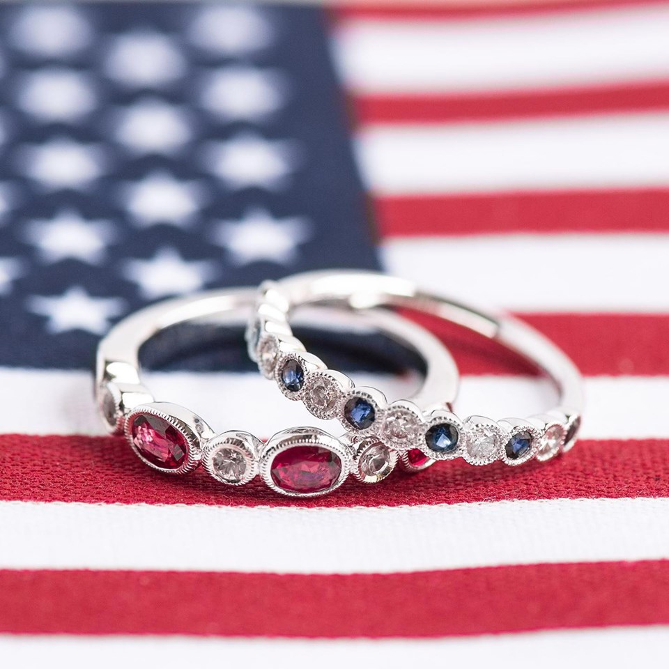 Red, white and blue with these rubies, diamonds and sapphire bands! Shop  HERE  and  HERE .