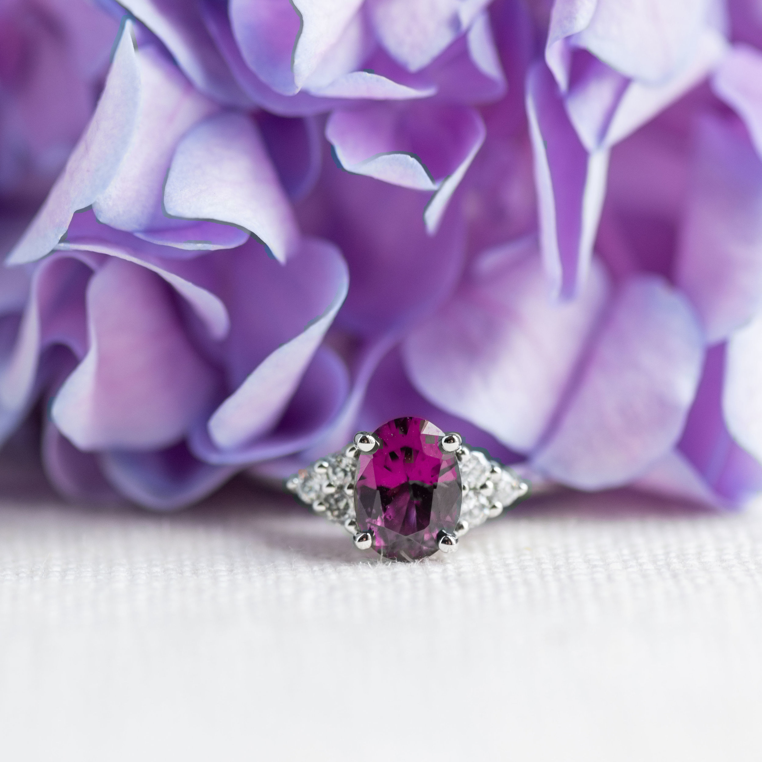 The perfect color combination of purple and pink in this garnet and diamond ring! Shop this beauty  HERE .