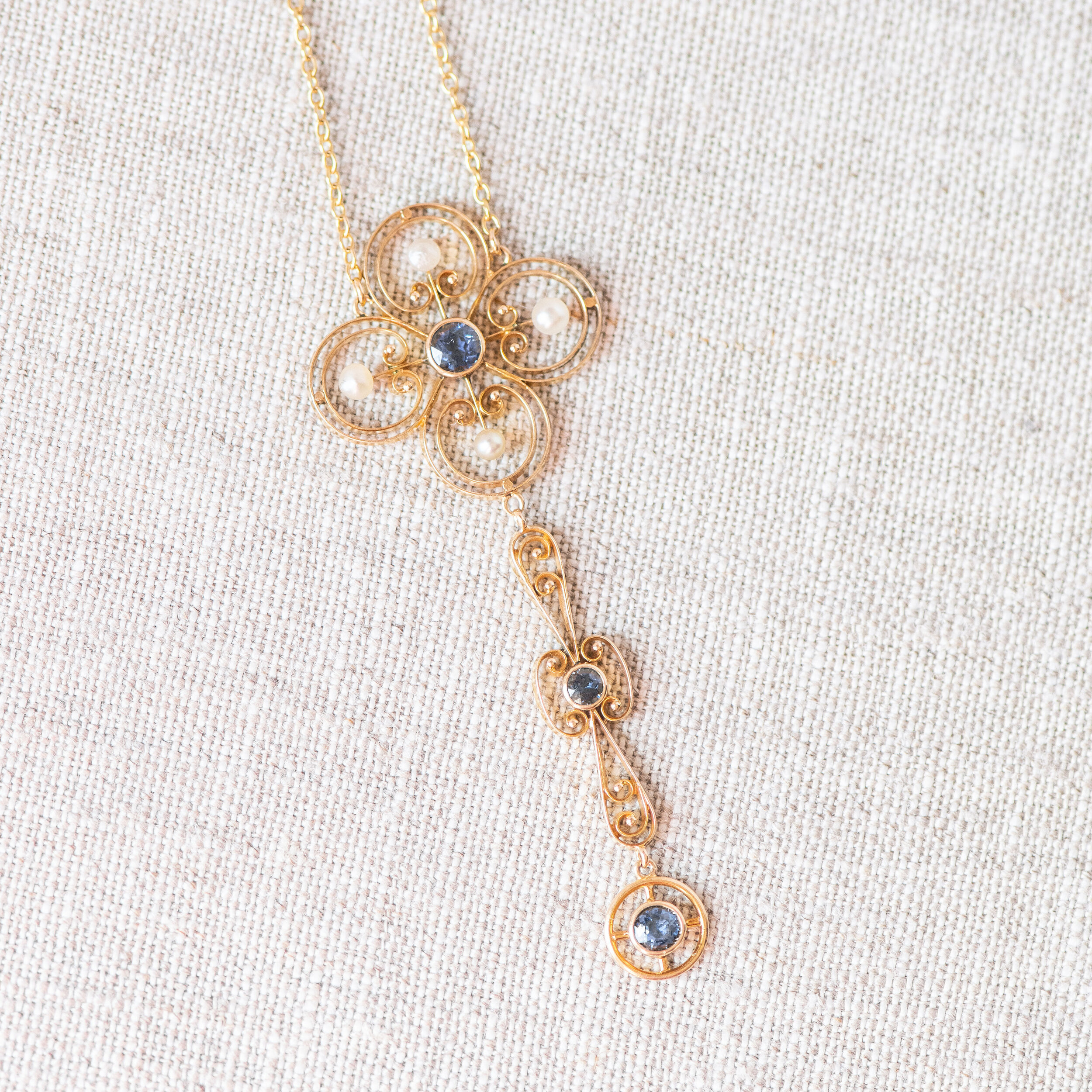 A Victorian era beauty sweetly set with sapphires and pearls. Shop  HERE .