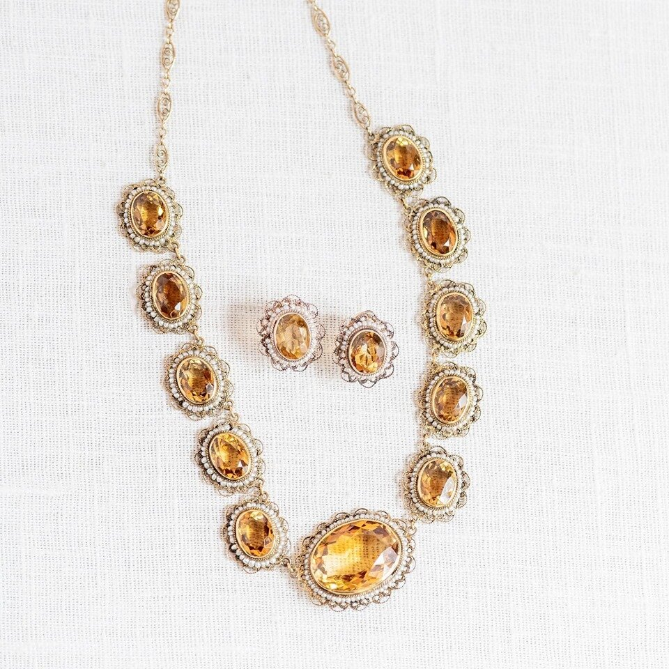 For our citrine encore this week, we present to you: An Edwardian Citrine and Seed Pearl Necklace and Earring Duo! Just dreamy! SHOP  HERE  AND  HERE !