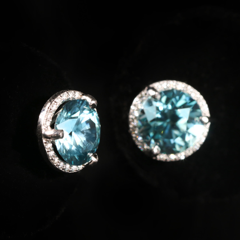 Blue Zircon Gold Pendant /& Brooch w earrings,Versatile 4 Piece Gold and blue paure,Unworn Vintage Pendant Brooch and earrings,4 piece Set
