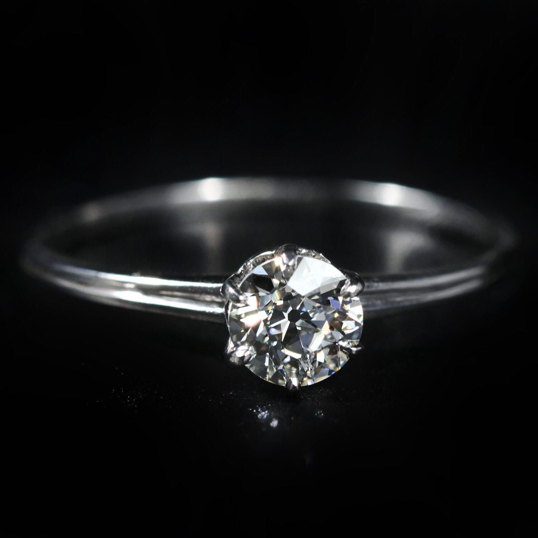 Estate Antique Art Deco 18K White Gold /& Mine Cut Diamond Wedding Band