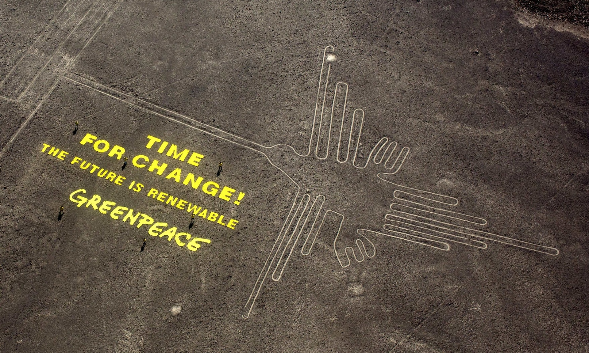 Yes they actually wrote on the ground, this is not photoshop magic,photograph Rodrigo Abd/AP