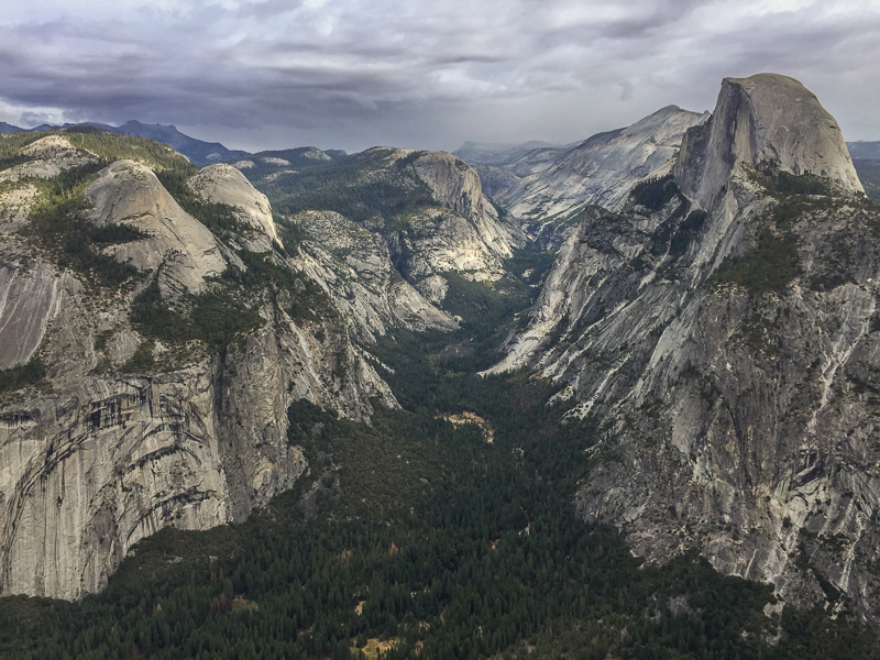Half Dome to the right