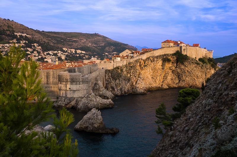 Dubrovnik city wall at dusk