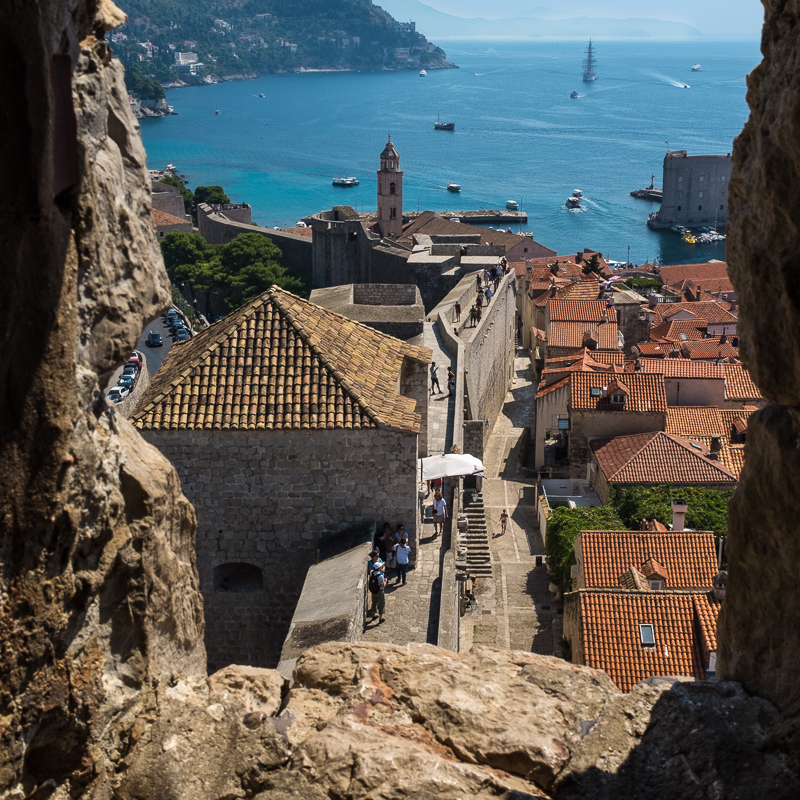The city wall at Dubrovnik offers spectacular views