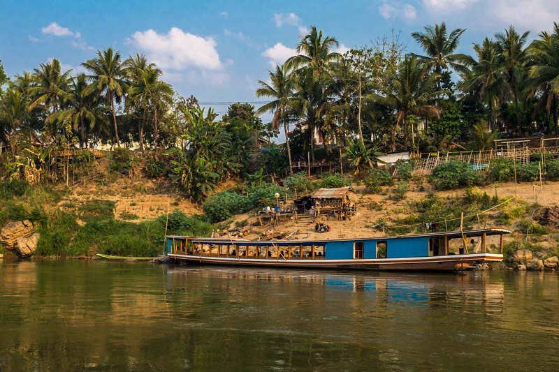 One of the many Mekong River boats