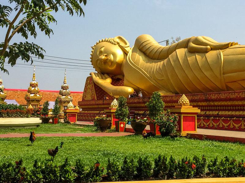 Glistening Golden Reclining Buddha