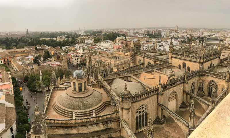 Bird's eye view of Seville from catherdral bell tower