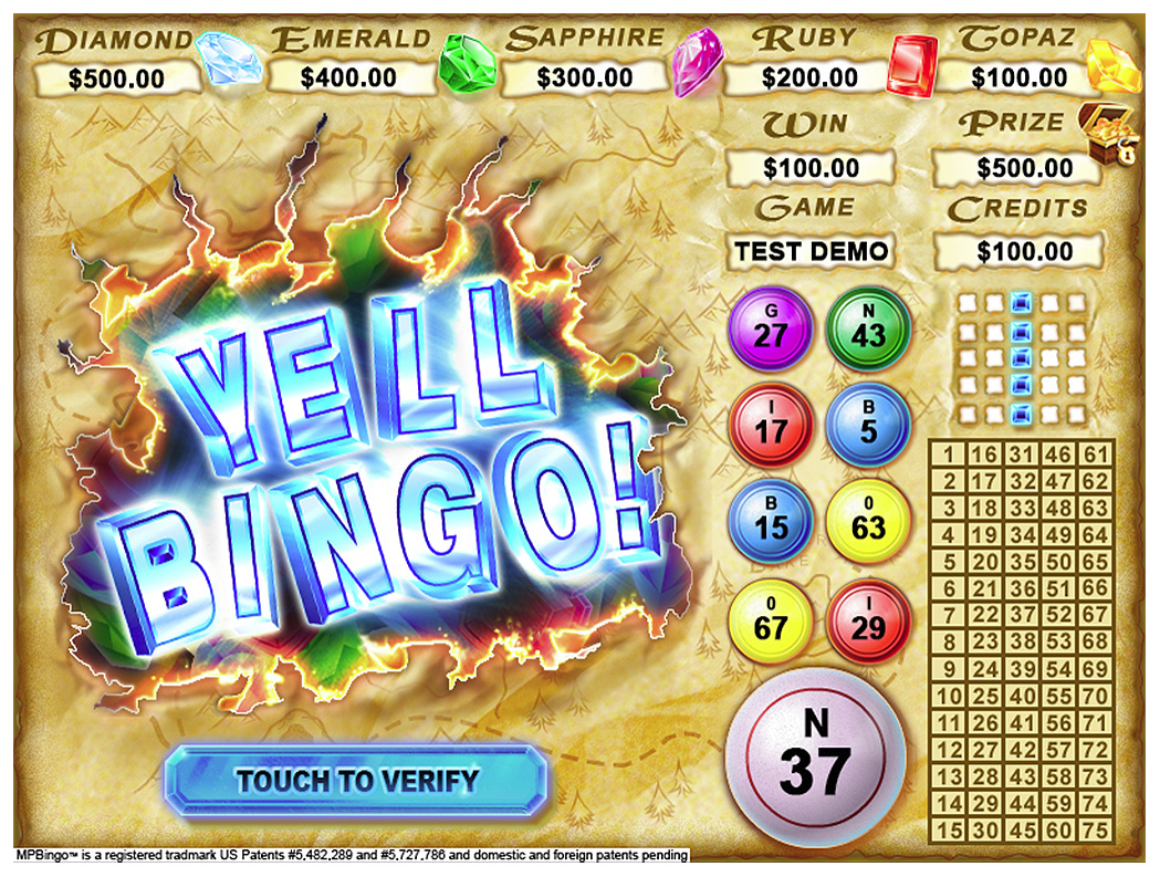 "Gem Hunt ""Yell Bingo!"" Screen"