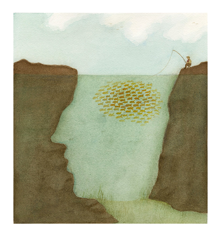 Old Wives' Tales series, Fish Brain, Watercolour    The tale: fish is brain food.
