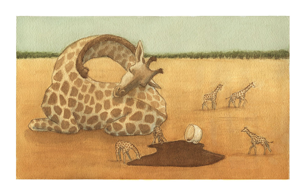 Old Wives' Tales, Giraffe Coffee, Watercolour  The tale: coffee stunts your growth.