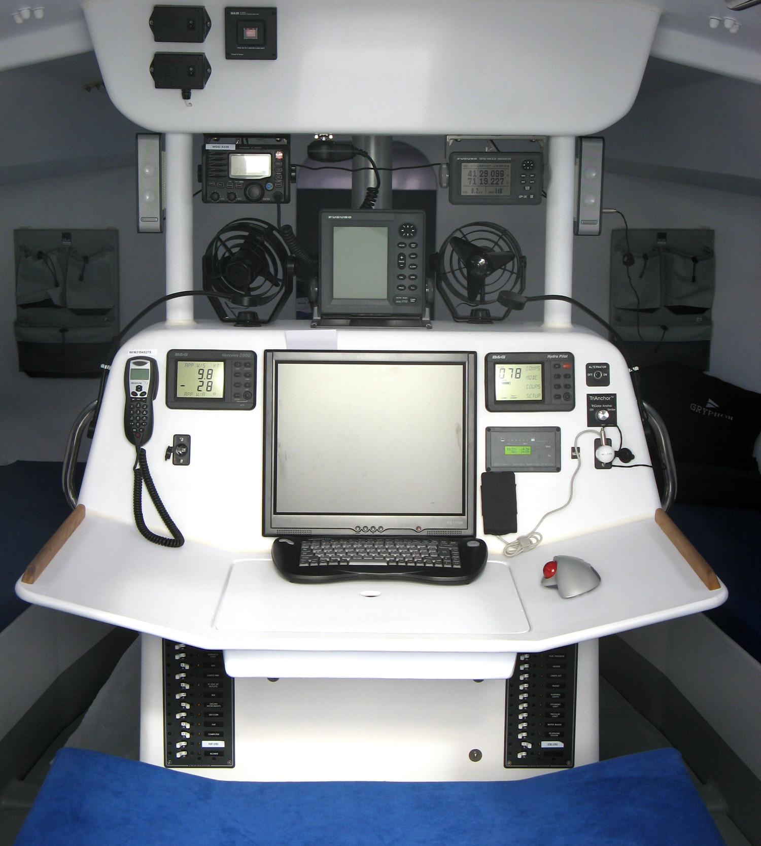 Open 60 racing sailboat navigation station