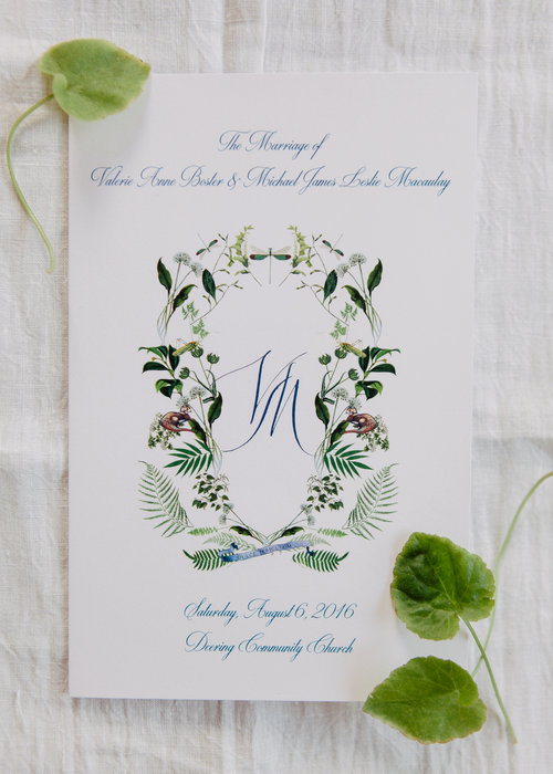 Ceremony Program - This booklet is a great addition to your ceremony, especially if the wedding is a mix of religions and cultural backgrounds. Typical elements include the processional, service music, translations, order of the service, text for group prayers or readings, poems, and the names of soloists, the officiant, attendants and readers.