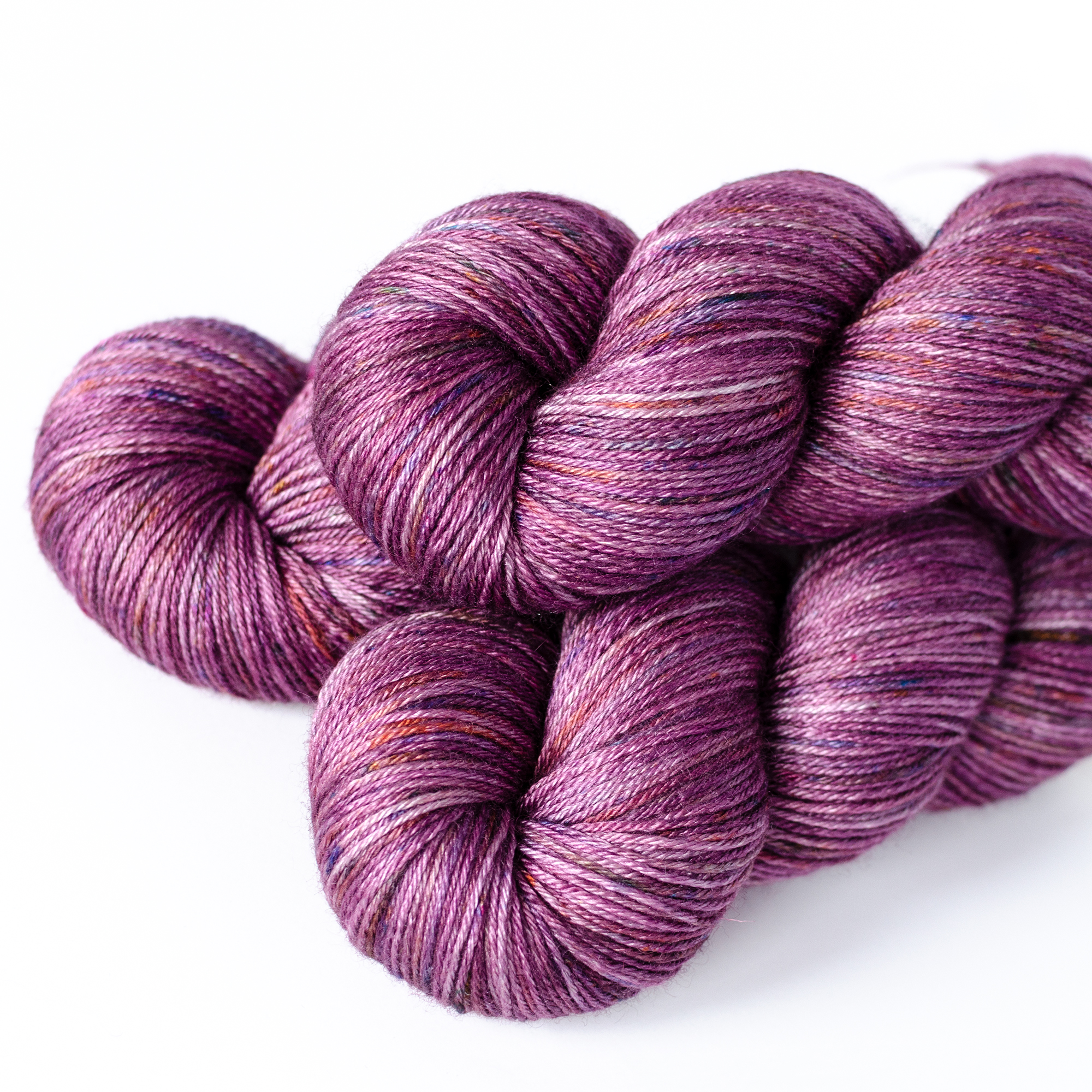 BFL/Silk Fingering - $32  55% SW British BFL Wool, 45% Silk  4 plies  435 yards / 398 meters  100 grams  Fingering Weight  US 1-5 / 2.25-3.75mm  Hand wash / Dry flat  This base is soft, smooth, and surprisingly lofty. It feels more airy than the merino version.