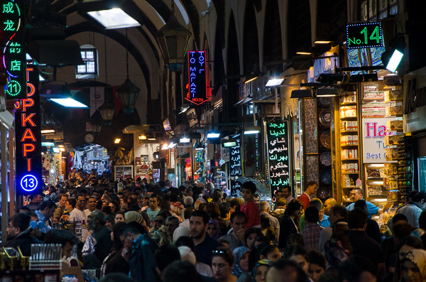 Crowded weekend market