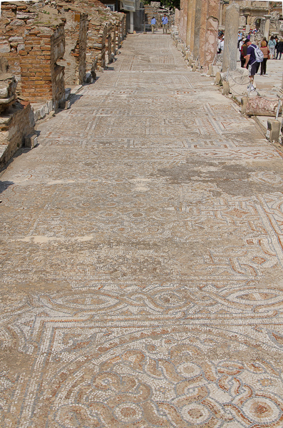 "Beautiful intact mosaic ""road"" that ran in front of storefronts, adjacent to via vita! (vitae? vitum?)"