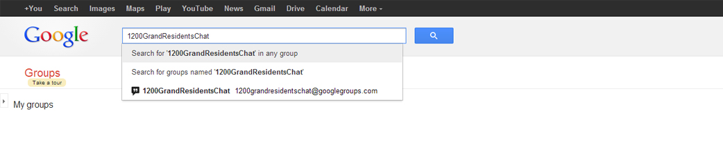 4. The group should pop up as a search option.