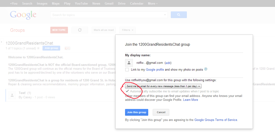 8. Check box to indicate you want to receive responses to your post. (You can change this setting later.)