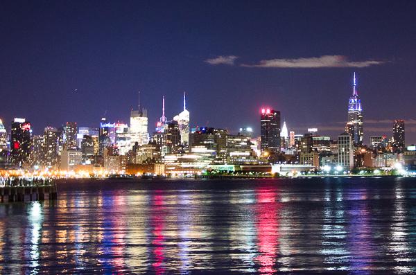 Summer night view of the Manhattan skyline